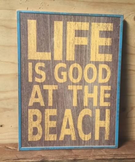Life Is Good At The Beach ~ Retro Coastal Wooden Sign Wall Art